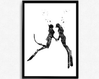 Scuba Divers Couple Love,  black and white Watercolor, Print, Wall Art, gift (995)