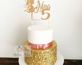 Personalised Fairy Cake or Cupcake Topper- Fairy Topper/Fairy Garden/Fairy Princess/Fairy Party/Fairy Birthday/Glitter Fairy/Fairy Decor