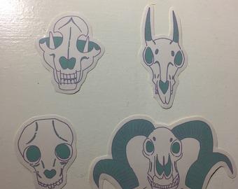 Mint Skull Stickers