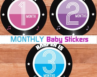 Baby Girl Month Stickers, Photo Prop Stickers, New Baby Girl Gift, Rock and Roll Shower Gift, Baby Girl Monthly Stickers, Custom Stickers