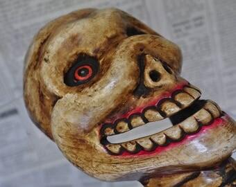 Mask Nepalese carved wood - skeleton - DM070