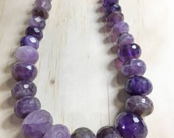 Amethyst Necklace, Ombre Beaded Amethyst Necklace, February Birthstone, Amethyst Jewelry, Ombre Amethyst Necklace, Necklaces for Women