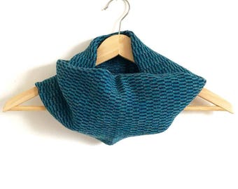 Navy and Teal Stripe Design Snood Cowl Knitted in Supersoft Lambswool