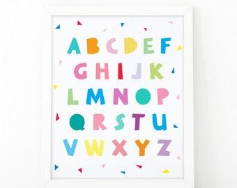 Alphabet wall art, Alphabet wall decor, Nursery wall decor, Cute art print, Art for kids, Colorful print, Kids wall decor, Baby room art