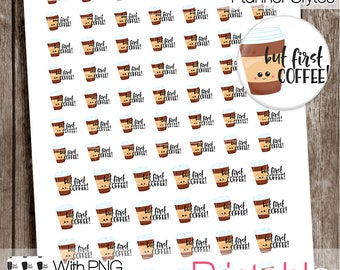 Coffee, Functional Printable Stickers, Coffee Stickers, All Planner Styles, Planner Printable, Planner Stickers, Icons