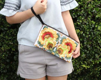 Hilltribe Style Flower Clutch With Embroidered Fabric