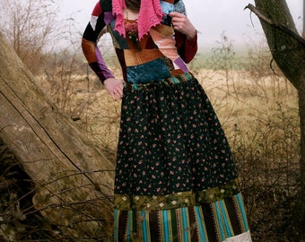 To Rajasthan and Back Again  -Banjara Inspired Skirt - Tiered Patchwork - Adult / Women's Maxi Long Drawstring - OOAK Handmade in Kansas