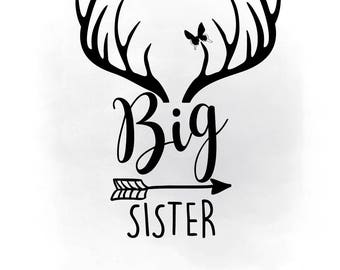 Big Sister svg clipart, Big sister printable, Boho Antlers SVG, heat transfer SVG ,Decal vector, nursery room decor, AI Svg Png Jpeg cricut