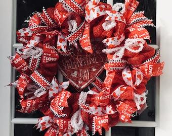 Valentine, Valentine Day, Valentine Wreath, Valentine Heart Wreath, Valentine Deco Mesh Wreath, Valentine Door Decoration, Valentine Gift.