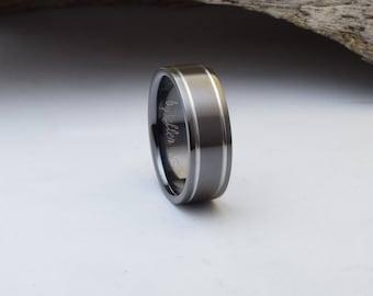Titanium ring with a gunmetal grey exterior and a black interior, mens titanium wedding bands, titanium wedding bands men, wedding ring mens