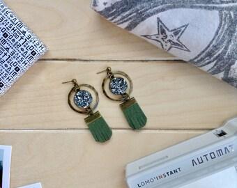 """Halo """"Rock"""" earrings + olive green fringe"""