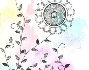 Watercolor Floral Card-Design 1