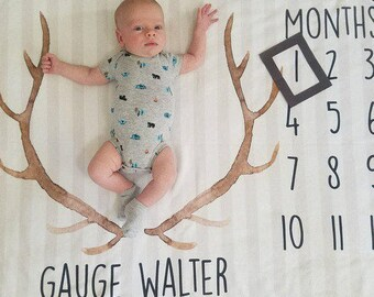 Baby Month Milestone Blanket- Antlers - Arrows - Boy - Personalized Baby Blanket - New Mom Baby Shower Gift