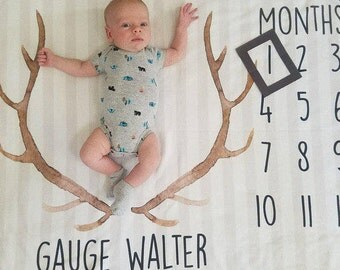 Baby Month Milestone Blanket- Antlers - Arrows - Boy - Personalized Baby Blanket - Monthly Milestone Blanket
