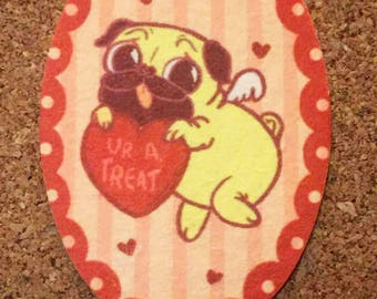 "Quirky Pug Car Air Freshener - Jasmine Scent - ""Love Pug"""