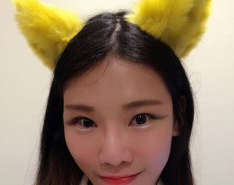Cat ears Kitty Headwear Dark Yellow Furry Animal Headband Costume Bow Bells