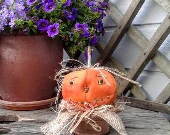 Primitive Pumpkin - Halloween Pumpkin - Primitive Decor - Primitive Halloween Decor - Primitive Fall Decor - Primitive Doll - Folk Art Doll