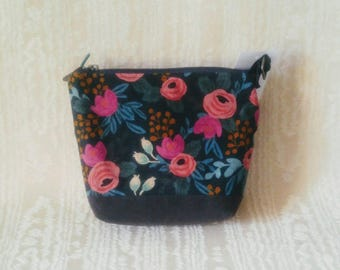 Small Day Bag in Waxed Rosa Navy, Menagerie from Rifle Paper Co and Grey waxed cotton, Canadian, 1867Shop, Crossbody,