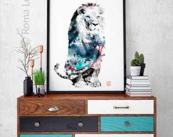 Lion Art Print Watercolor Mixed Media Animal Poster Lion Wall Art Nursery  Decor African Animal Wall