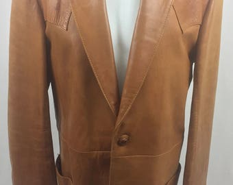 Vintage Californian Cognac Brown Leather Jacket Jacket with Lining/Size 44 Extra Long