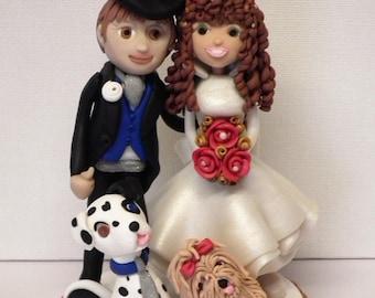 Wedding Cake Topper, Bride and Groom, Wedding, Dog Lover's Wedding Cake Topper, Dogs.