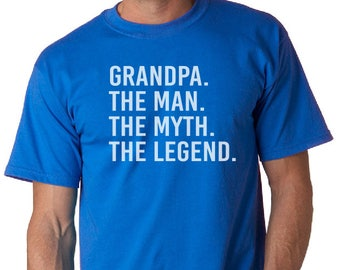Grandpa The Man The Myth The Legend- Grandpa T Shirt- Christmas Gifts Grandpa Gifts, Gifts for Dad, Birthday Gifts, Shirts, Tshirts, white,