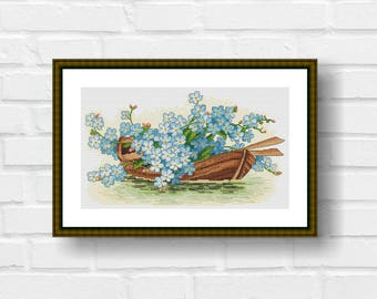 Boat With Flowers Cross Stitch Pattern