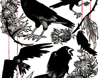 Ink Print: Ravens and Thistle