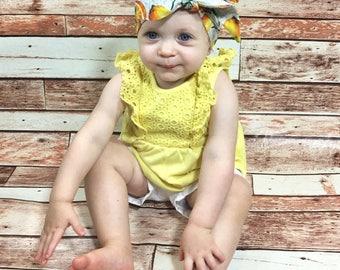 Lemon Headwrap- Lemon Headband; Lemon Bow; Head Wrap; Big Bow Headwrap; Headwrap; Mommy and Me Headbands; Girls Headwrap; Girls Headband
