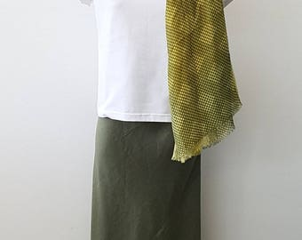 A Line Bias Cut Skirt in Olive Green