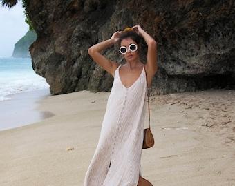 New!  Chic Simple Ladies Summer Maxi Dress | Modern Design | White + Bone Stripe