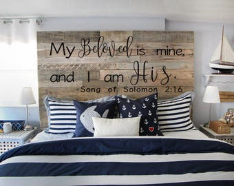 My Beloved is Mine And I am His- Vinyl Wall decal Song of Solomon 2:16 Religious Scripture