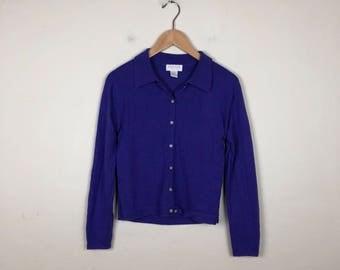 Vintage Purple Cardigan Size M, Purple Sweater, Preppy Cardigan