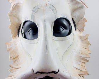 White Lion Leather Mask