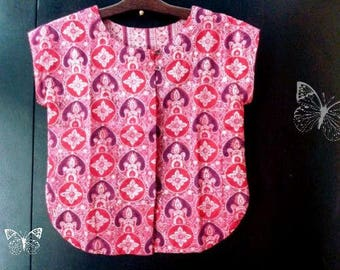 Top/Blouse/ Tunic/ Crop top/Vintage/ Anokhi/ S size/ Hand Block Print/ cotton/India