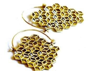 Brass earring, geometric earrings