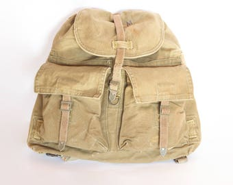 Vintage Military Canvas Backpack, Khaki Canvas Backpack, Distressed Rucksack, Hiking backpack, Duffle Bag, Washed Out Hipster Backpack 1970s