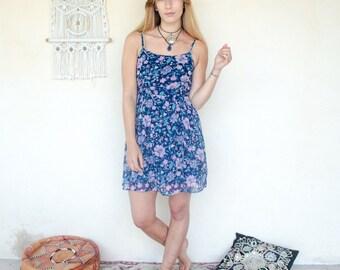 Vintage Floral Lace Up Mini Dress