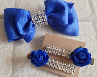 Royal blue hair bow,Blue ribbon hair bow and clips,Bridesmaid hair bow blue,Party hair bow blue with sparkle,Hair clips and matching bow