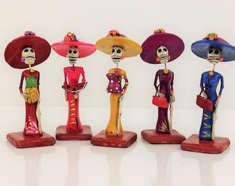 """La Catrina Mini Figurine La Catrina Clay Figurine Day of the Dead Dia de Muertos Mexican Folk 4.25""""  Different Figurines"""