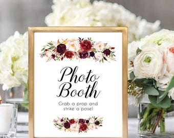 Photo Booth Sign, Wedding Photo Booth, Photo Booth Sign Printable, Grab A Prop And Strike A Pose, Printable Wedding Sign, Floral, #D021