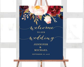Wedding Welcome Sign, Wedding Welcome Sign Template, Printable Wedding Welcome Sign, Ceremony Welcome Sign, Gold, Navy Blue, Boho Chic