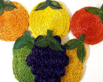 Abaca Fruit Coater Set // 1970's // Set of 6