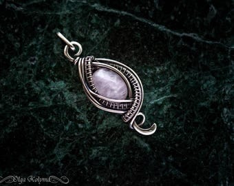 Silver pendant Wire wrapped pendant Rose quartz pendant Silver necklace Wire wrap pendant Gemstone necklace gift for her