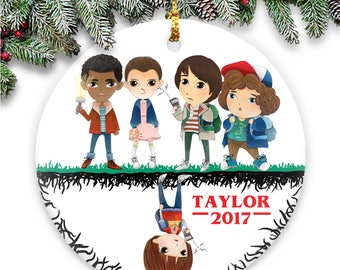 Lucas, Eleven, Mike, Dustin, Will - Stranger Things Parody - Ceramic Ornament Personalized with Name & Year