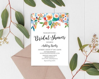 Watercolor Bridal Shower invitation, Bridal shower invitation, Rustic bridal shower invitation, Floral Bridal Shower - US_BI1501
