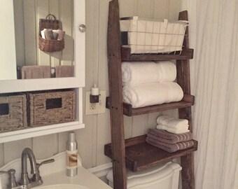 Over the Toilet Ladder Shelf, Choose color stain/paint, Bathroom Storage, Leaning Ladder Shelf, Tank topper, Over Hamper Shelf, Wood Shelf
