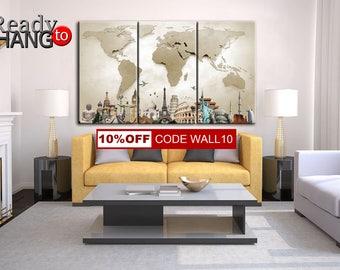World Map Canvas, Beige World Map, Wall Decor, LARGE World Map Canvas, World Map Canvas, World Map Poster, World Map, World Map Print