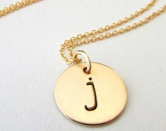 Personalized initial necklace tiny gold 750/1000