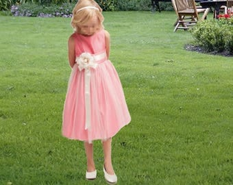 Girl - dress pink ceremony held small bridesmaid girl pink and white satin and tulle with flower